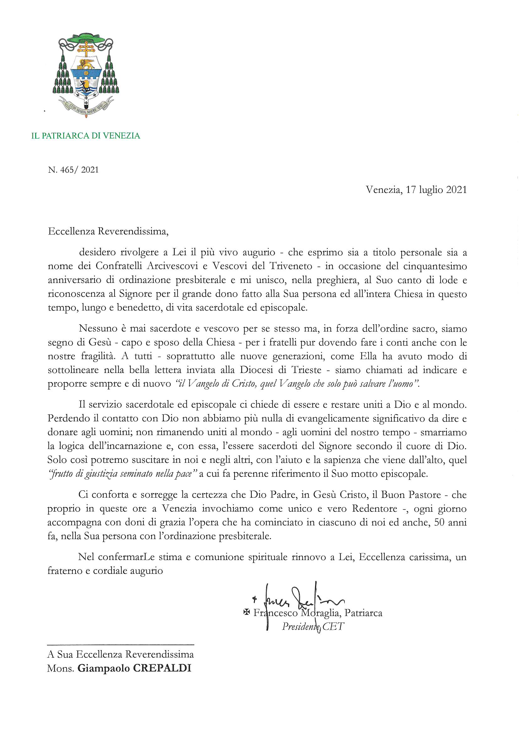 2021-465_Lettera del Patriarca a l'Arcivescovo-vescovo di Trieste SE Mons. Crepaldi_ auguri 50 sacerdozio