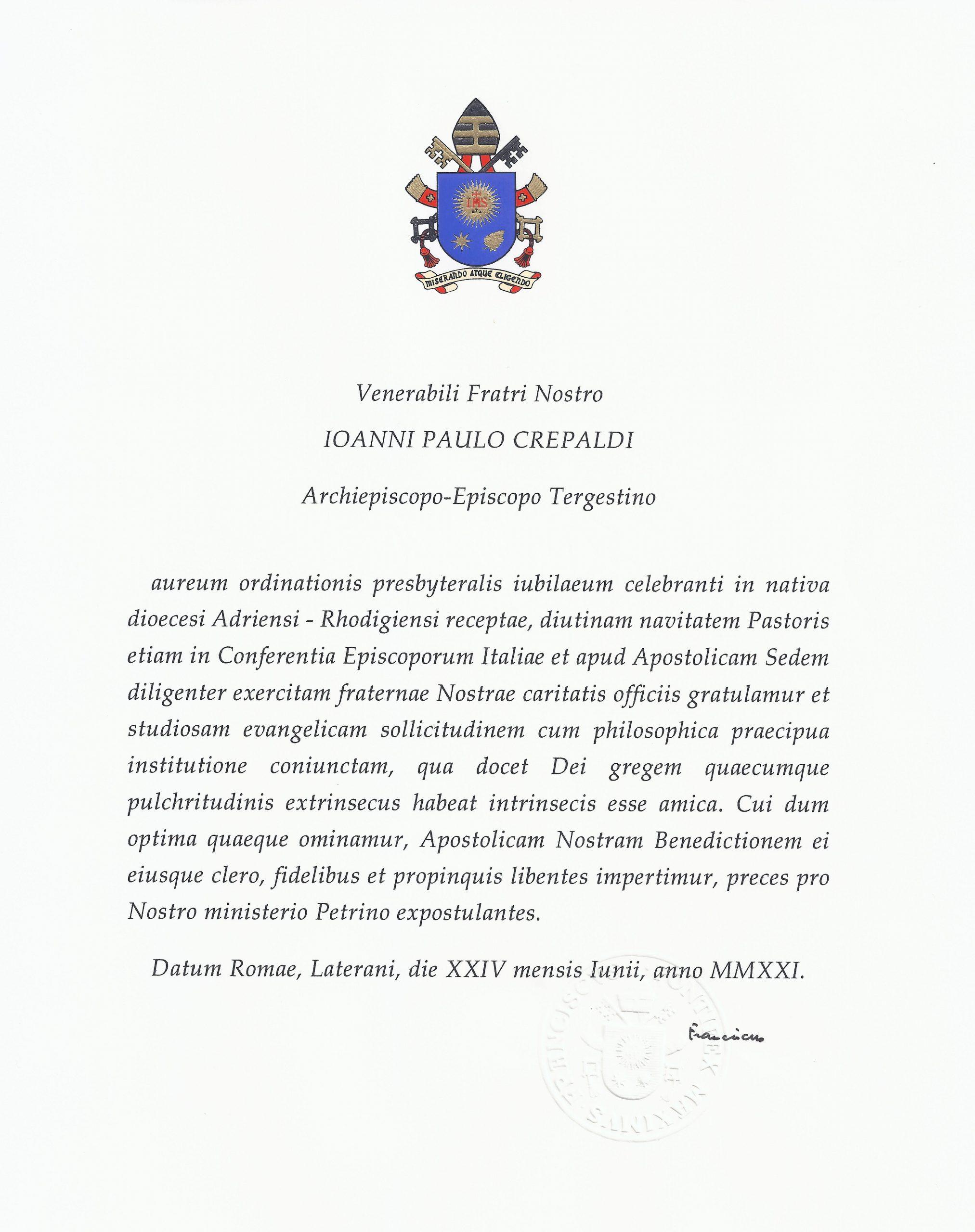 Gli auguri di Papa Francesco e del Patriarca di Venezia, il dono della Città di Trieste